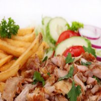 Doner Meat with Chips & Salad