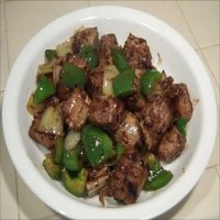 142. Roast Pork with Green Peppers in black bean sauce
